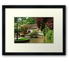 Idyllic village scene as pseudo oil painting Framed Print