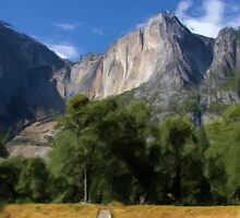 Yosemite Falls, California as pseudo oil painting by Sue Leonard