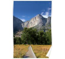 Yosemite Falls, California as pseudo oil painting Poster