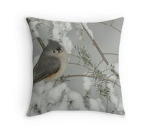 Tufted Titmouse in Snow Storm Throw Pillow
