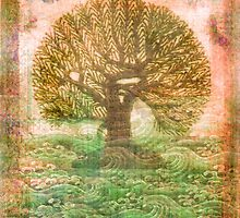 Tree of Life - green sea - earth colours by goldenslipper