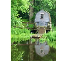 Boathouse on the Lake as pseudo oil painting Photographic Print