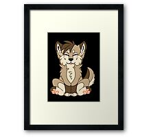 Cute Chibi Brown Wolf Framed Print