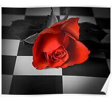 Rose on the chessboard  Poster