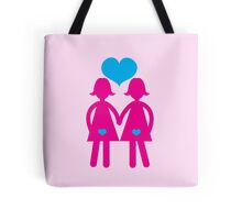 Lesbian girls love hearts together Tote Bag
