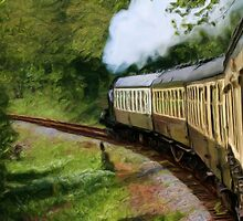 Steam Train as pseudo painting by Susan Leonard