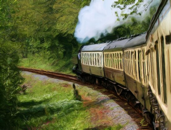 Steam Train as pseudo painting by Sue Leonard