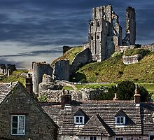 Corfe Castle, Dorset, UK, Over the Village Rooftops  by Chris Lord