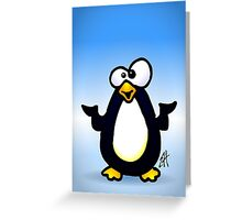 Pondering Penguin Greeting Card