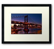 The Brooklyn and Manhattan Bridges at Dusk, USA Framed Print