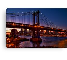 The Brooklyn and Manhattan Bridges at Dusk, USA Canvas Print