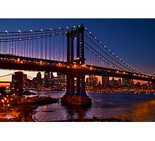 The Brooklyn and Manhattan Bridges at Dusk, USA Photographic Print