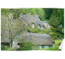 Thatched hamlet as pseudo oil painting Poster
