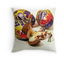 Creme Egg Farming Throw Pillow