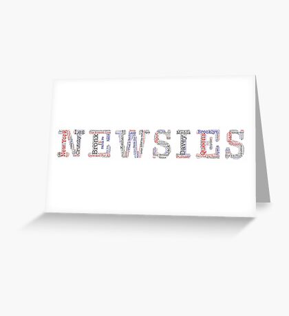 Newsies Logo Word Art - Red White Blue and Black Greeting Card