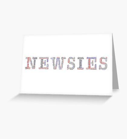 Newsies Logo Word Art - Red White Blue and Black Greeting Card