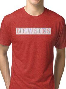 Newsies Logo Word Art - Red White Blue and Black Tri-blend T-Shirt