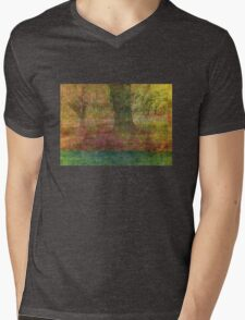 Autumn Landscape in yellow, red, and orange Mens V-Neck T-Shirt