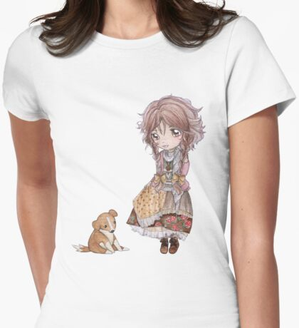 Sprawling Puppy Meets A Mori Girl Womens Fitted T-Shirt