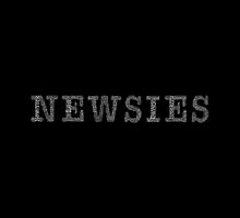 Newsies Logo Word Art White Font on Black by tlchproductions