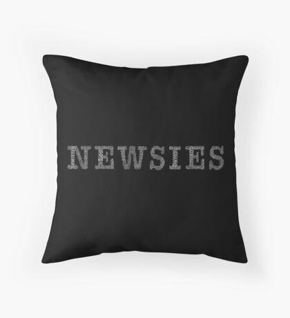 Newsies Logo Word Art White Font on Black Throw Pillow