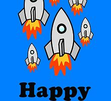 Exodus by Rocket Ships Happy Birthday Greeting Card by Chillee Wilson by ChilleeWilson