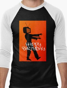 Zombie TV Guy Happy Birthday Greeting Card by Chillee Wilson Men's Baseball ¾ T-Shirt