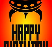 Space Invader Happy Birthday Greeting Card by Chillee Wilson by ChilleeWilson