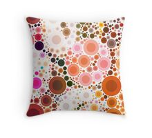 abstract geometric pattern chocolate brown pink circles Throw Pillow