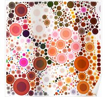 abstract geometric pattern chocolate brown pink circles Poster