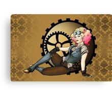 Steampunk Pilot Pinup Girl Canvas Print