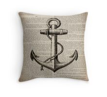 rustic nautical  captain newspaper print vintage anchor  Throw Pillow