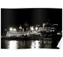 Cincinnati skyline, black and white Poster