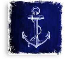 Rustic beach sailor fashion Navy blue anchor nautical  Canvas Print