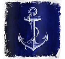 Rustic beach sailor fashion Navy blue anchor nautical  Poster