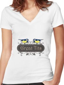 Great Tits Women's Fitted V-Neck T-Shirt
