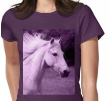 Purple White Horse Head Womens Fitted T-Shirt