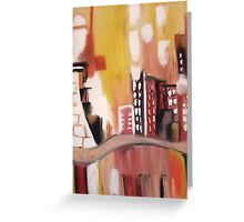 Moody Oilpant Cityscape  Greeting Card