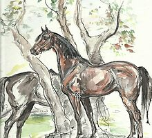 """Landscape with horses"" by Yanina Antsulevich"