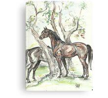 """Landscape with horses"" Canvas Print"