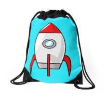 Rocket Ship by Chillee Wilson Drawstring Bag