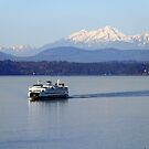 Seattle Ferry on Puget Sound by Bob Hortman