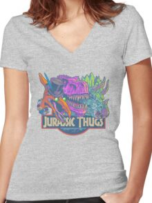 Jurassic Thugs Women's Fitted V-Neck T-Shirt