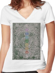 The Seven Chakras (Ancient) Women's Fitted V-Neck T-Shirt