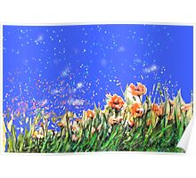 Poppies flowers field painting Poster