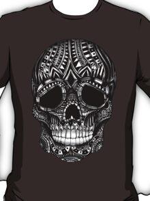 Ornate Sugar skull black and white illustration T-Shirt