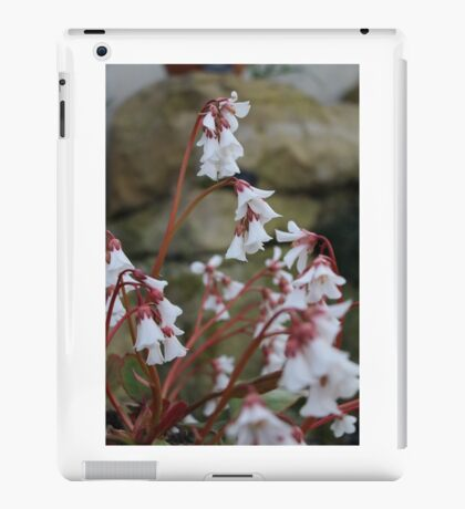 White flowers with red stems iPad Case/Skin