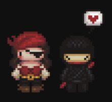 girly pirate vs ninja love Kids Clothes