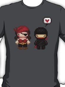 girly pirate vs ninja love T-Shirt