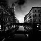 Salts Mill and Canal Evening by Lorne  Campbell